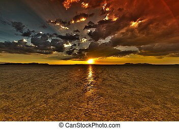 干燥, 湖, 日落, hdr