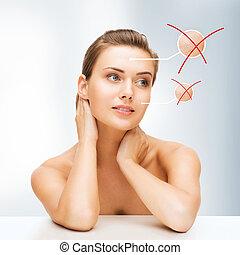 干燥, 皮肤, 妇女脸