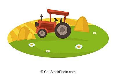 干草, 領域, 整洁, collects, 堆, 拖拉机