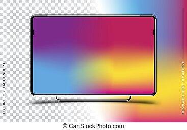 平らなコンピュータモニター, 現実的, 色, eps, イラスト, バックグラウンド。, ベクトル, 黒, テンプレート, 透明, 10