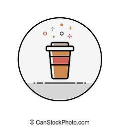平らなライン, コーヒー, アイコン