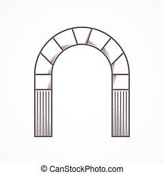 平らなライン, デザイン, 丸いアーチ