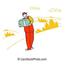 平らなライン, ベクトル, 家族, 助け, ボランティア, 構成, 貧しい, 箱, problems., 寄付, things., 悩み, 人, 援助, 芸術, イラスト, 漫画, 慈善, 届きなさい, 人道主義者, 人々, 金融, 寄付