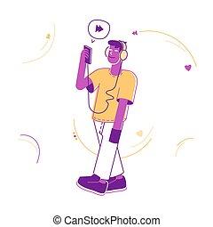 平らなライン, ベクトル, 適用, 技術, 若い, concept., 聞くこと, ティーネージャー, 音楽, 身に着けていること, モビール, 使うこと, ヘッドホン, 人, 芸術, イラスト, 朗らかである, 催し物, 漫画, レジャー, smartphone., 小道具