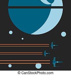 平らな芸術, スペース, 傾向, 飛行, 惑星, イラスト, デザイン, グラフィックス, シャトル