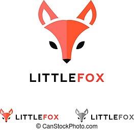 平らな頭部, キツネ, スタイル, ベクトル, minimalistic, ロゴ, 赤