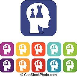 平らな頭部, セット, ポーン, アイコン, 女王, チェス