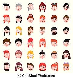 平らな頭部, セット, 人々, スタイル, 毛, デザイン, avatar, 相違, 1, アイコン