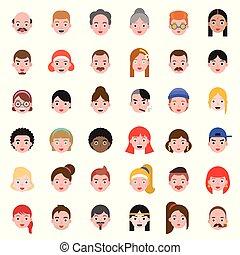 平らな頭部, セット, 人々, スタイル, 毛, デザイン, avatar, 2, 相違, アイコン