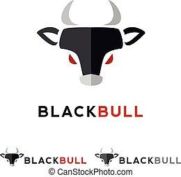 平らな頭部, logotype., minimalistic, ベクトル, 黒, 動物, 雄牛, logo.