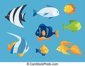 平らな魚, セット, 海, アイコン