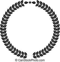 平ら, ∥あるいは∥, illustration., 色, シンボル, 花輪, style., ベクトル, 月桂樹, ロゴ, あなたの, design.