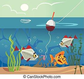 平ら, えさ, 底, concept., fish, みみず, イラスト, 湖水, ベクトル, hook., 釣り, 海, 見る, 漫画