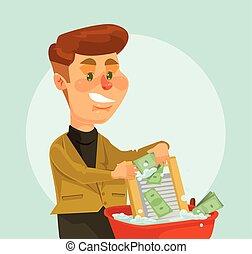 平ら, お金。, 特徴, 泥棒, とい, ベクトル, イラスト, ビジネスマン, 漫画