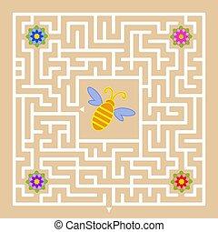 平ら, すべて, 広場, 助け, labyrinth., 単純である, 隔離された, 蜂, 蜂蜜, 集めなさい, ベクトル, colors., 出口, ファインド, illustration.