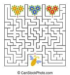 平ら, すべて, 広場, 助け, labyrinth., 単純である, 隔離された, 蜂, 蜂蜜, 集めなさい, flowers., ベクトル, illustration.