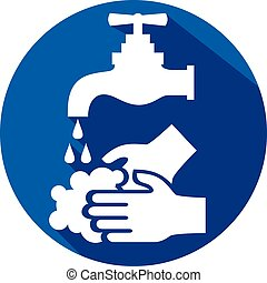 平ら, どうか, 洗いなさい, 手, あなたの, アイコン