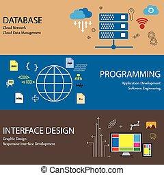 平ら, のように, データベース, アイコン, デザイン, 概念, 線, 雲, ネットワーク