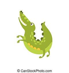平ら, は虫類, のように, 特徴, 犬, 図画, ワニ, 跳躍, 緑, 動物, 漫画, 味方