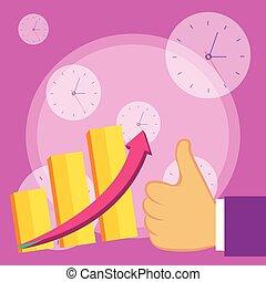 平ら, よい, バー, 指すこと, ビジネス, グラフ, チャート, の上, escalating, デザイン, 矢, 写真, 成長する, performance., 創造的, 親指