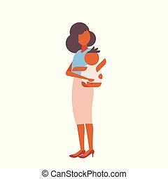 平ら, わずかしか, 概念, 家族, 彼女, 母, 若い, 隔離された, 新生, 母性, 長さ, フルである, 特徴, 保有物の赤ん坊, 情事, 漫画, 幸せ