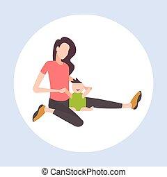 平ら, わずかしか, 概念, 持つこと, 彼女, 家族, 女性の モデル, 息子, 新生, 母性, 長さ, フルである, 楽しみ, 特徴, 母, 赤ん坊, 遊び, 漫画, 幸せ