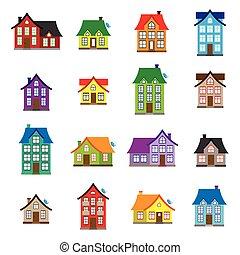 平ら, アイコン, セット, 家, コレクション, ベクトル, デザイン, 家, カラフルである, アイコン