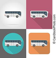 平ら, アイコン, バス, イラスト, 旅行, 大きい