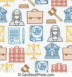 平ら, アイコン, パターン, seamless, 輪郭, デザイン, 法律, style.
