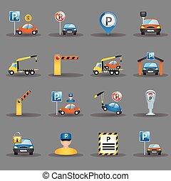 平ら, アイコン, ファシリティ, グラファイト, 背景, 駐車