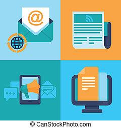 平ら, アイコン, マーケティング, -, ベクトル, 概念, 電子メール
