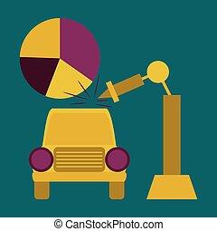 平ら, アイコン, 上に, 流行, 背景, 自動車の産業