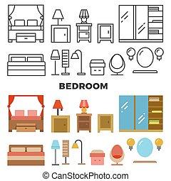 平ら, アイコン, -, 付属品, コレクション, 寝室家具
