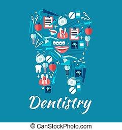 平ら, アイコン, 健康, シンボル, 歯, 歯科医術