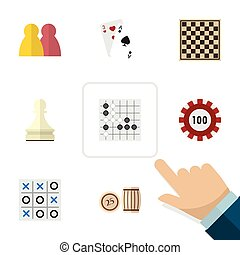 平ら, アイコン, 催し物, セット, の, エース, ポーカー, 人々, そして, 他, ベクトル, objects., また, 含む, gomoku, カジノ, ギャンブル, elements.