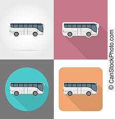 平ら, アイコン, 大きい, イラスト, 旅行, ベクトル, バス