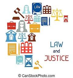 平ら, アイコン, 正義, デザイン, 背景, 法律, style.