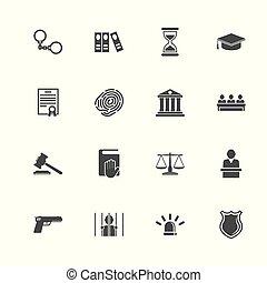 平ら, アイコン, 正義, -, ベクトル, 法律