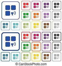平ら, アイコン, 色, 警報, コンポーネント, 概説された