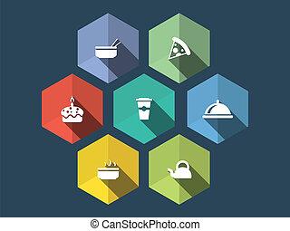 平ら, アイコン, 食物, 長い間, デザイン, 影