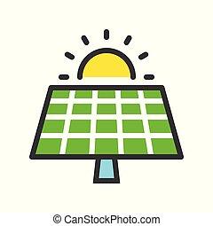 平ら, アウトライン, エネルギー, 細胞, 緑, 太陽, デザイン, パネル, 太陽, 満たされた, アイコン