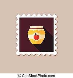 平ら, アップル, 切手, ジャー, 長い間, 混雑, 影