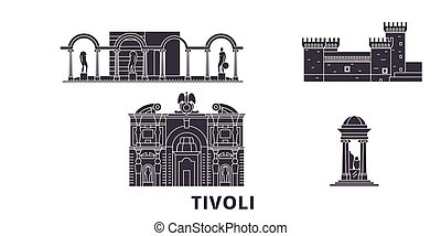 平ら, イラスト, イタリア, 旅行, landmarks., シンボル, スカイライン, ベクトル, 黒, 光景, ...
