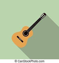 平ら, イラスト, ギター, ベクトル, デザイン, 音響