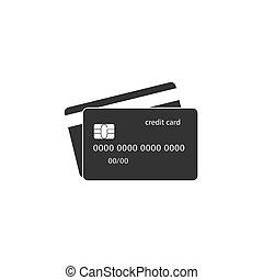 平ら, イラスト, クレジット, ベクトル, icon., カード, design.