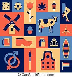 平ら, イラスト, セット, 旅行の色, ベクトル, amsterdam., バックグラウンド。, netherlands, アイコン