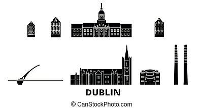 平ら, イラスト, 旅行, ダブリン, landmarks., irland, スカイライン, ベクトル, 黒, 光景...