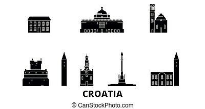 平ら, イラスト, 旅行, landmarks., シンボル, スカイライン, ベクトル, 黒, 光景, croatia, 都市, set.