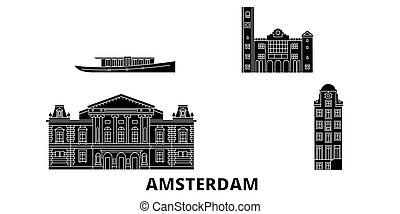 平ら, イラスト, 旅行, landmarks., シンボル, スカイライン, ベクトル, 黒, 光景, netherlands, アムステルダム, 都市, set.
