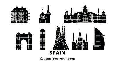 平ら, イラスト, 旅行, landmarks., バルセロナ, シンボル, スカイライン, ベクトル, 黒, 光景, スペイン, 都市, set.